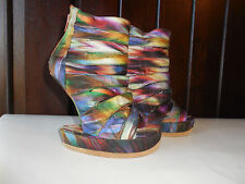 $244 New Sz.6 JEFFREY CAMPBELL SHOES SANDALS  ON DECK RAINBOW SWIRL MULTI COLOR