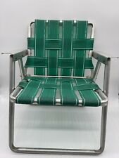 Vintage Child / Toddler Size Green Webbing Aluminum Folding Lawn Chair
