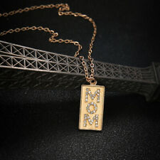 """Square Pendant Gold Necklace Chain Jewelry Mother's Day Gift """"Mom"""" Charm Crystal"""