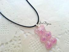Collana resina orsetto gommoso rosa caramella con glitter handmade