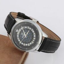 Men Wrist Watch Automatic Mechanical Skeleton Creative Date Dial & Leather Strap