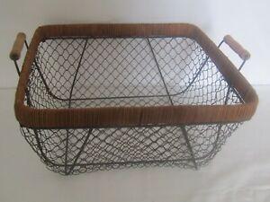 Vintage Metal Wire and Wood Handles Basket
