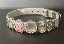 🐞Metal Silver Mesh Charm Bracelet LADYBIRD🐞