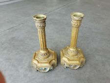 Antique Pair Bronze French Classical Candlesticks Candle Holders