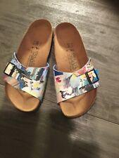 Womens Birkis Size 38 One Strap Hawaiian Print Slip On Sandal
