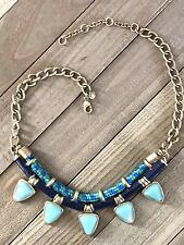 Beaded Choker Necklace Boho Hippie Statement Vintage Estate Turquoise
