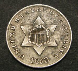 USA 3 Cents 1853 - Silver - VF - 328