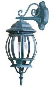 TYRESE APPLIQUE LAMPADA LANTERNA DA PARETE ESTERNA IN ALLUMINIO VERDE 40 WATT