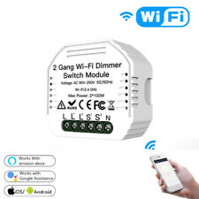 2 Gang2 Way WiFi LED Dimmer Module Light Switch Remote Control For Alexa Google@