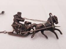 Antique russian-circa 1900 silver brooch/broach/ broche/pin horse and cossack.