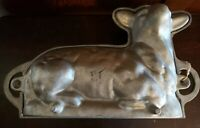 "Vintage Cast Aluminum Two Piece ""Lamb"" Mold original price in grease pencil"