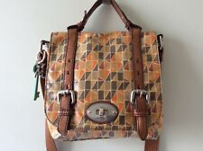 FOSSIL real leather trim ladies oilcloth satchel messenger crossbody shoulderbag