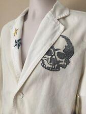 Calvin Klein Jeans White Denim Blazer Jacket Skull Snake 90s Vintage NEW