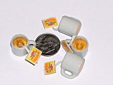 1 Miniature dollhouse Coffee Hot Lipton cookie Tea coffee bag cup food charm NW