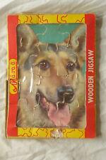 Vintage WILTOYS MINI WOODEN JIGSAW PUZZLE OF ALSATIAN GERMAN SHEPHERD DOG 1960's