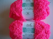 Needle Crafters Soft & Fluffy plush/fleece yarn, Neon pink, lot of 2(40 yds ea)
