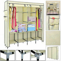 Triple Canvas Wardrobe Hanging Clothes Storage Rack Shelves Organiser Cupboard