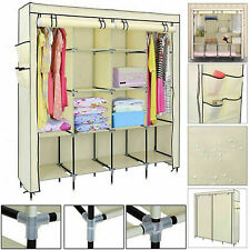 Triple Canvas Wardrobe Hanging Clothes Storage Rack Shelves Organiser Cupboard