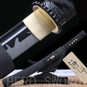 Full Black Japanese Sword Samurai Tanto Knife Razor Sharp 1095 High Carbon Steel