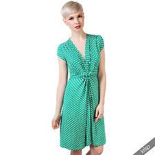 Womens Polka Dot Print Twist Knot Front V Neck Mini Swing Dress Party Summer Jade (cap Sleeve) 20