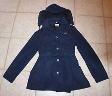 Lacoste Womens Size 40 Detachable Hood Blue Button Front Trench Tie Waist Coat