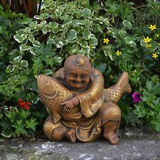 Massiver großer Stein Buddha mit Koi Farbe exclusiv Gartendeko Raumdeko frostfes