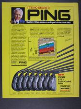 1989 Ping Eye 2 Irons orange red black blue green white dot vintage print Ad