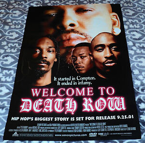 DEATH ROW poster SNOOP DOGG, DR. DRE, 2 PAC, TUPAC suge knight ORIGINAL PRINT