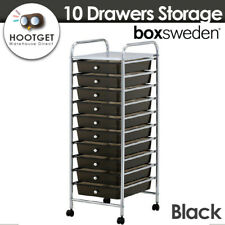Home Office Organiser 10 Drawers Storage Trolley Wheels Hairdresser Salon Black