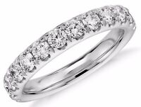 Diamond Wedding Ring band 1.10 Carat Round Cut 14k White Gold in French Pave