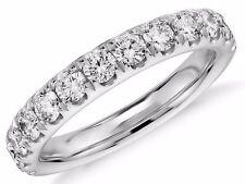 Diamond Wedding Ring band 1.10 Carat Round Cut 14k White Gold in French Pave
