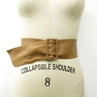 Vintage Women's 70's Simulated Leather Wide Tan Cinch Belt SZ M