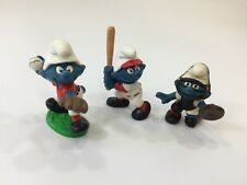 Vintage  Peyo Schleich  Baseball Smurfs Figures LOT Pitcher, Hitter & Catcher A