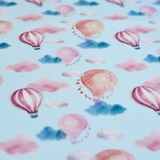Hot Air Balloon Printed 100% Cotton Lawn Fabric - Blue Sky, pink red & clouds
