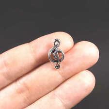 Perles Européennes Note de Musique 18mm x 9mm Métal argenté - 6 ou 20 pcs