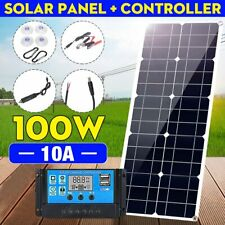 100W 18V Solar Panel Dual 12V/5V DC USB Charger Kit with 10A Solar Controller &