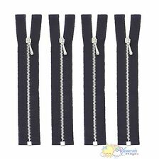 """4"""" Silver Brass Black Open-End #0 Teeth Doll Clothes Jacket Sewing Zippers 4pcs"""