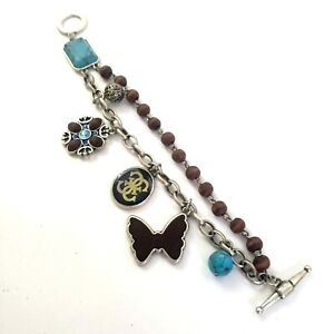 Guess Silver Tone Charm Bracelet Flower Butterfly Wood Blue Beads Signed Toggle
