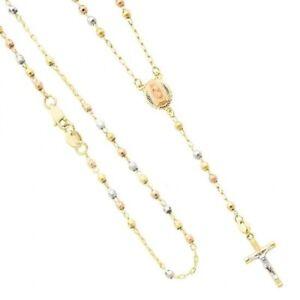 14k Tri Color Rosary Solid Gold Necklace Virgen de Guadalupe Rosario Oro 3 mm