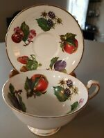 ANTIQUE CROWNFORD TEA CUP AND SAUCER - FINE BONE CHINA -FOOTED MADE IN ENGLAND