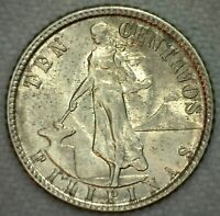 1945 Philippines BU Silver 10 Centavos Coin KM #181 Silver Uncirculated Coin K75
