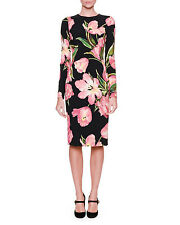 Dolce & Gabbana Long-Sleeve Tulip-Print Dress,Orig $2275 Size - 46IT/10US