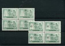 50c Textile #334 blk VF MNH and G Overprint blocks of 4 MNH,  Canada mint