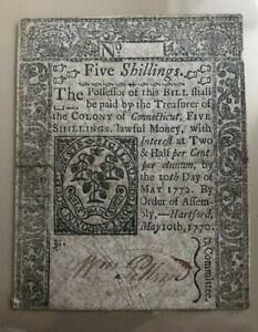 1770 Connecticut 5 five shillings