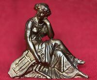 Antique Ansonia Gilbert Waterbury Seated Classical Spelter Mantel Clock Statue