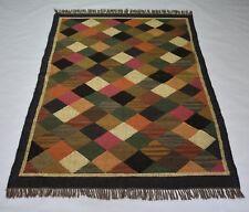 Hand Woven Ikat Patchwork Multi Color 4x6 Feet Jute Wool Kilim Area Rug