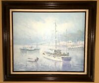 "Boats In The Water Oil Painting Signed by Alfred George Morgan 31"" x 27"" Framed"