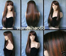Cosplay long dark brown & copper red mixed straight party Wig