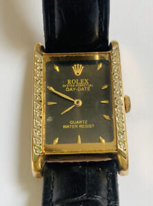 Rolex Day Date 34 Mm Vintage Gold 14k With 24 Diamonds