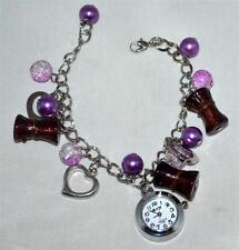 BNK WORKING Quartz Watch Charm Bracelet with Silver Hearts Purple & Brown Beads